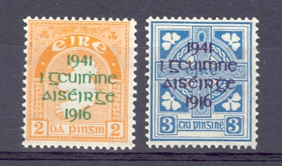 Ireland SG 126-7 1941 GVI Pair. 25th Anniversary of Easter Rising. Unmounted Mint