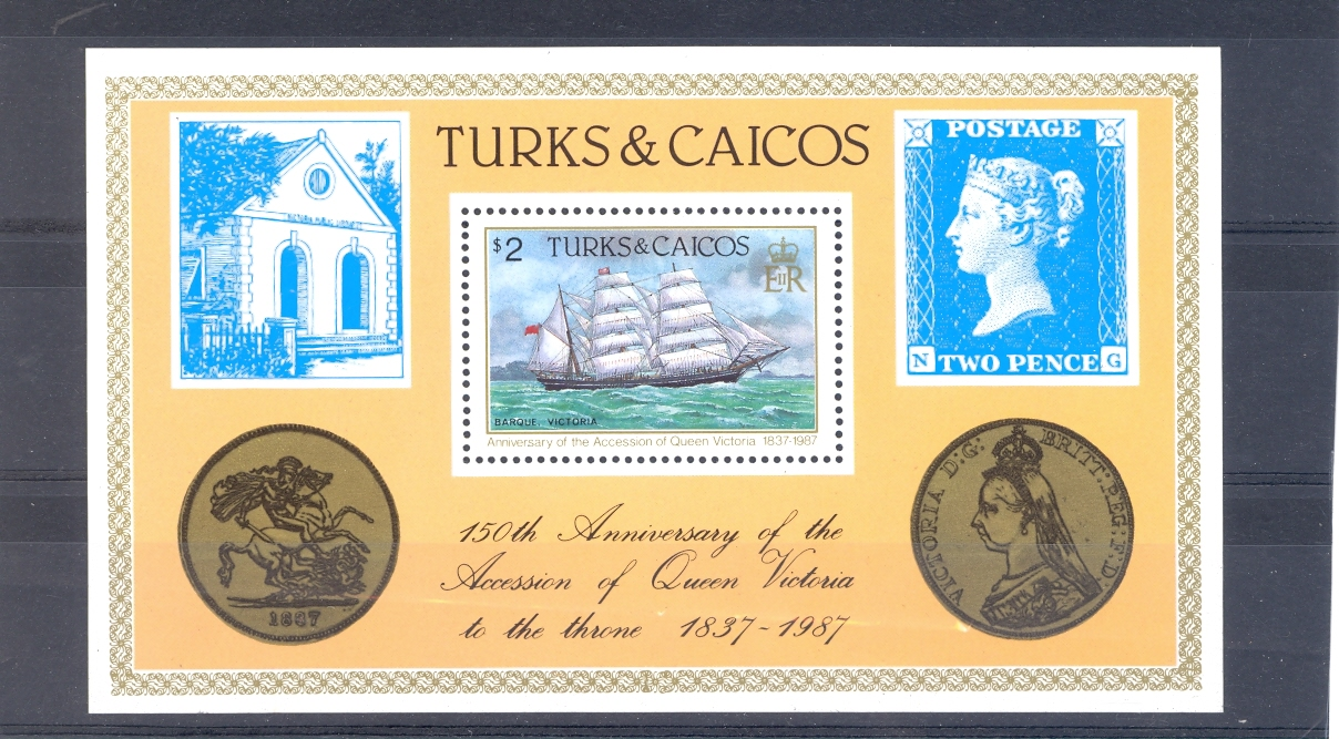 Turks & Caicos SG MS 906 1987 150th Anniversary Q.Victoria  Accession.