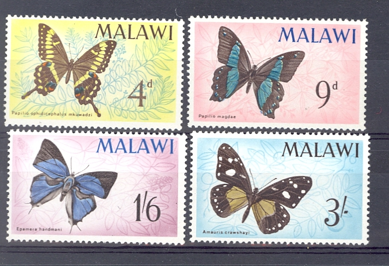 malawi Sg 247-50 1966 Butterflies Set Unmounted Mint
