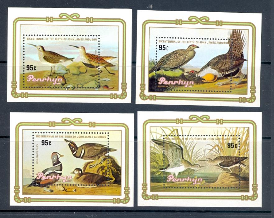 Penrhyn SG 373-376 1985 Bicentennial Of John Audubon Bird Set. Unmounted Mint