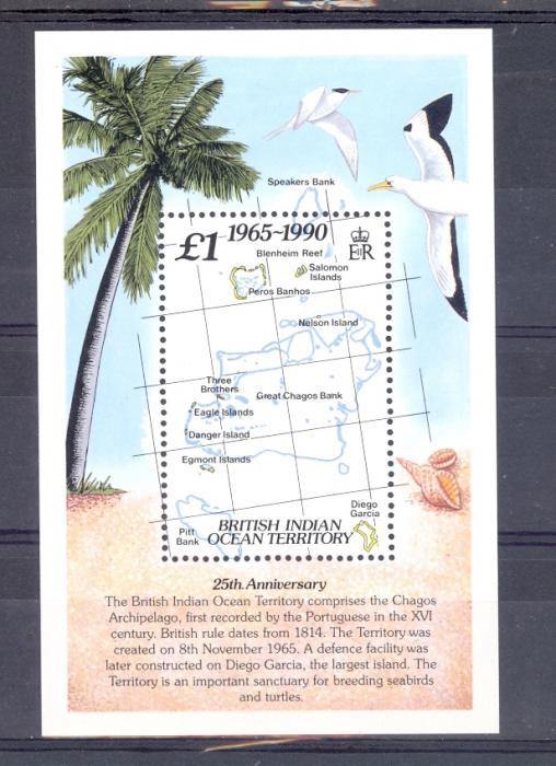 British Indian Ocean Territory SG MS 110 1990 25th Anniversary Of BIOT.  Unmounted Mint