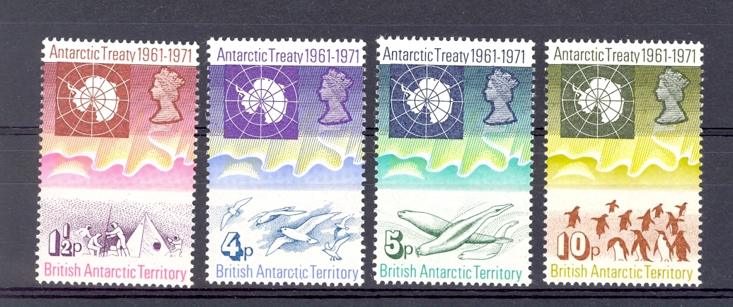 British Antarctic Territory SG 38-41 1971 Antarctic Treaty Set. Unmounted Mint.