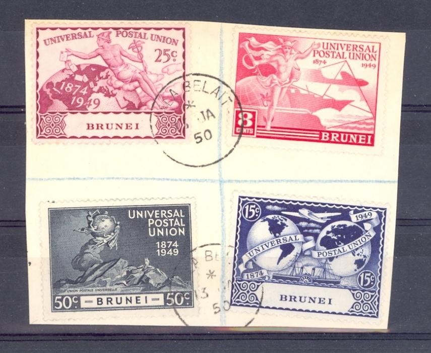 Brunei SG 96-9  1949 UPU Set Fine Used On Piece.