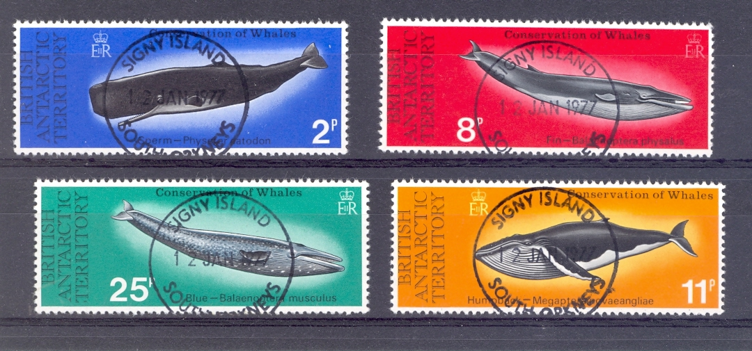 British Antarctic Territory SG 79-82 1977 Whales Set Fine used with Signy Island Cancel.