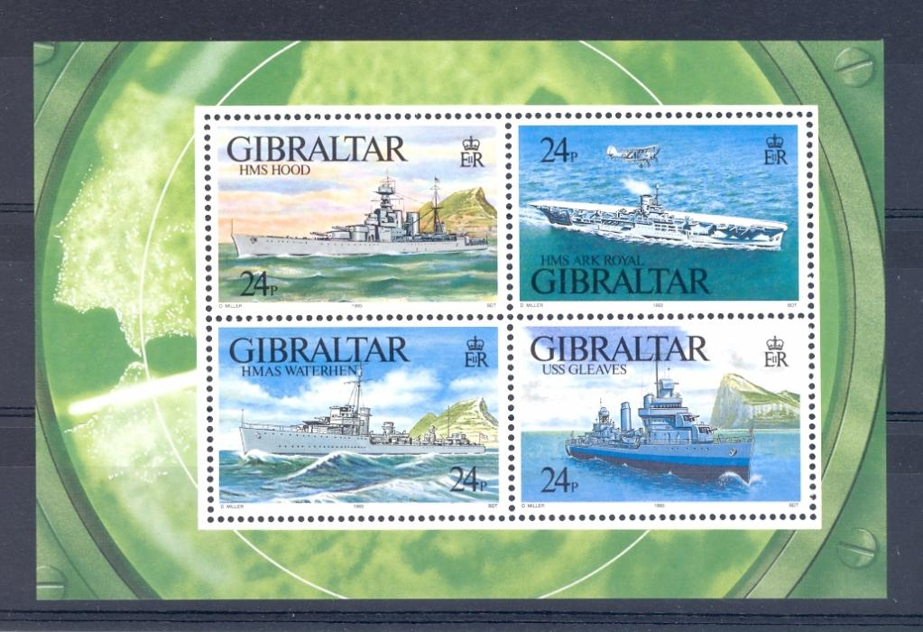 Gibraltar SG MS 694 WW II Warships 1st Series Miniature Sheet. Unmounted Mint.