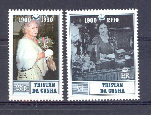 Tristan da Cunha SG 498-499 1990 90th Birthday Of Queen Mother Unmounted Mint