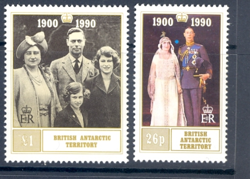 British Antarctic Territory SG 186-187 1990 Queen Mother. Unmounted Mint