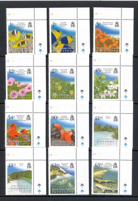 British Indian Ocean Territory 2009 Definitive Set of 12. Unmounted Mint