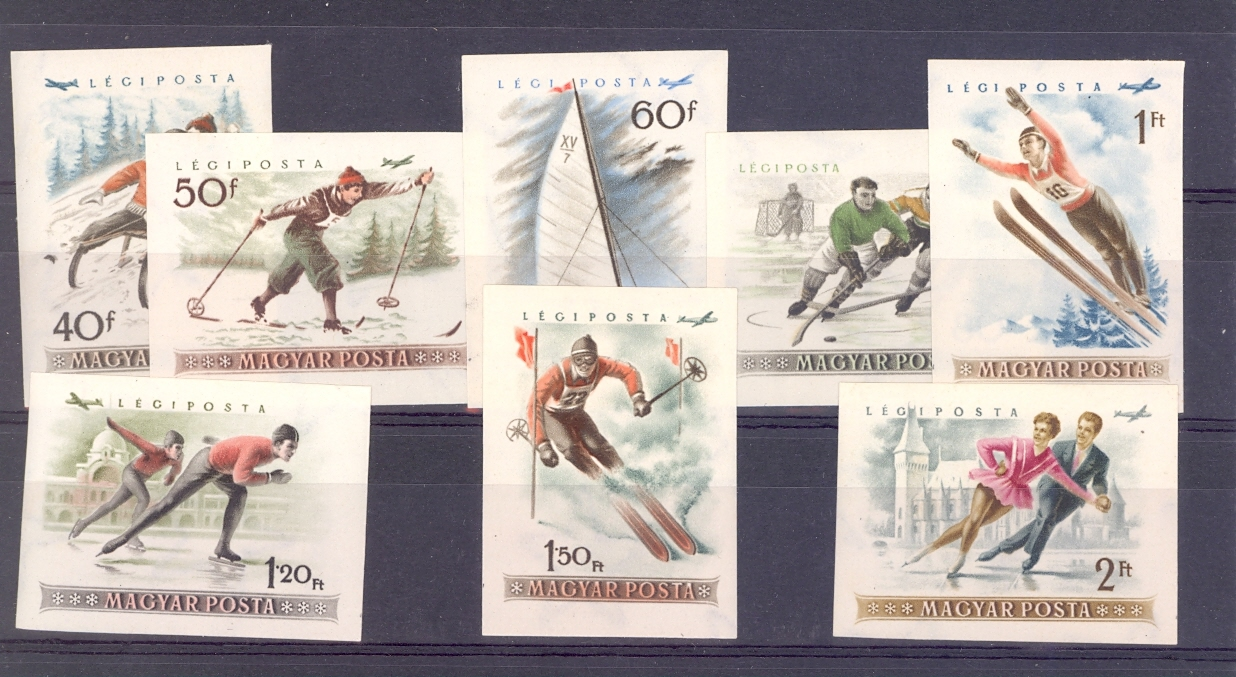Hungary 1955 Winter Sport. Unmounted Mint and Rare Imperf Set.