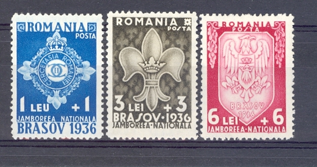 Rumania 1936 Scouts Set of 3. Mounted Mint