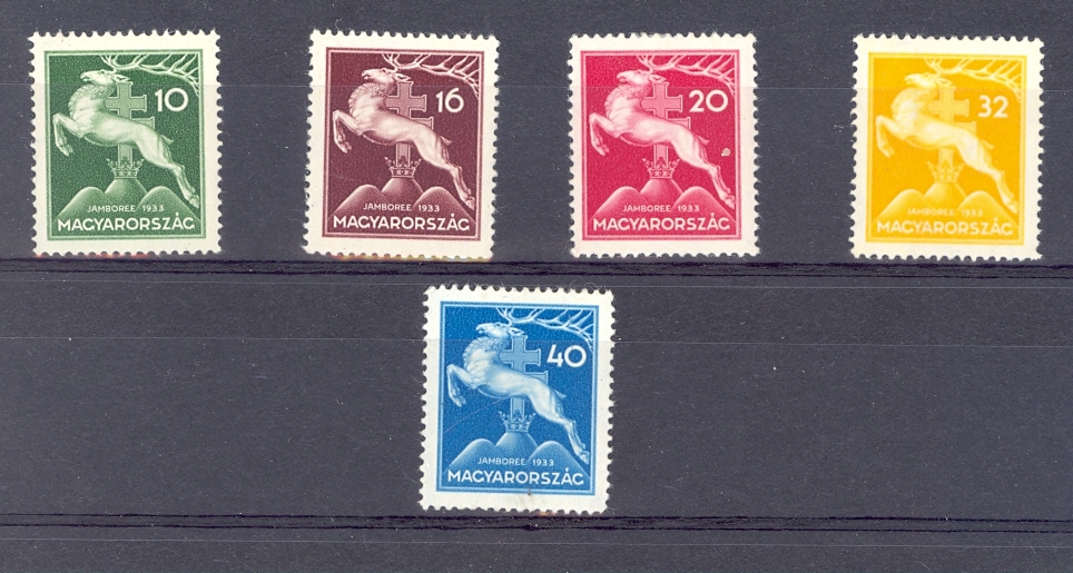 Hungary SG 563-71933 Scouts Set of 5. Mounted Mint