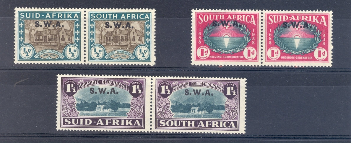 South West Africa SG 111-13  1939 Huguenot Commemoration Set. mounted Mint.