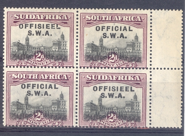 "South West Africa SG O11c 1929  ""No Stop after Official"" Overprint Block Unmounted Mint"