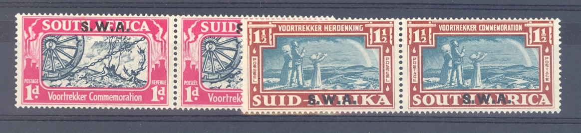 South West Africa SG 109-10 GVI 1938 Vortrekker Pair. Mounted Mint.