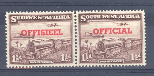 South West Africa SG O25 GVI Official Overprint on 1 1/2 d Train Pair. Unmounted Mint.