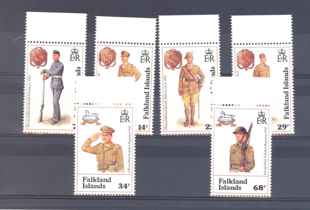 Falkland Islands SG 665-670 Centenary Of Falkland Island Defence Force. 1992 Unmounted Mint.
