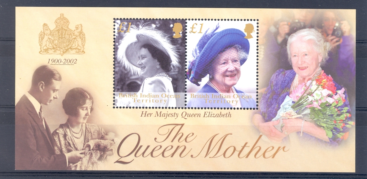 British Indian Ocean Territory. SG MS 269 Queen Elizabeth The Queen Mother Commemoration. 2002 Unmou