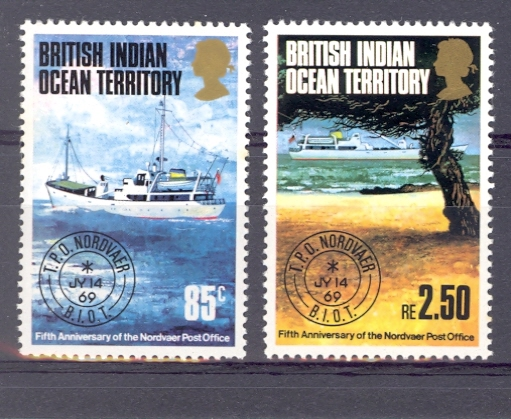 British Indian Ocean Territory 5th Anniversary of Nordvaer SG 56-7 1974 Unmounted Mint