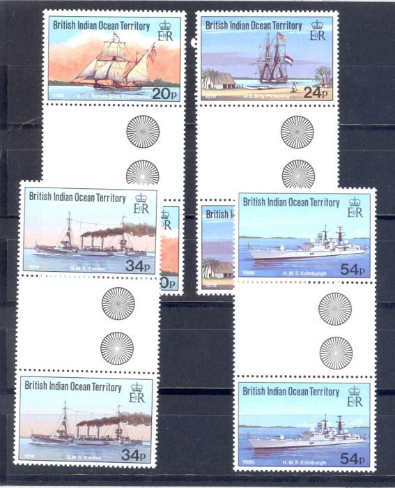 British Indian Ocean Territory SG 115-118 1991 Visiting Ships Set As Gutter pairs. Unmounted Mint