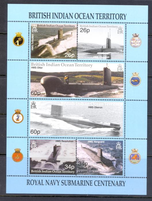 British Indian Ocean territory 200 Royal Navy Submarines Miniature sheet.