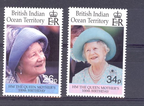 British Indian Ocean Territory SG 240-241 100th Birthday Of Queen Elizabeth Queen Mother. 2000