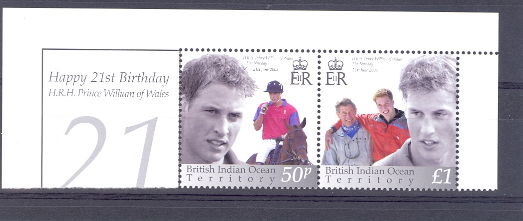 British Indian Ocean Territory SG  286-7 2003 Prince William 21st Birthday. Unmounted Mint.