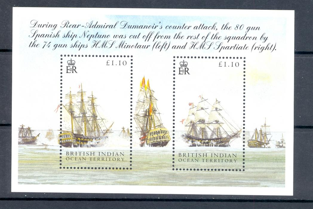 British Indian Ocean Territory SG MS 325 Battle Of Trafalgar Minature Sheet. 1st Issue. Unmounted Mi