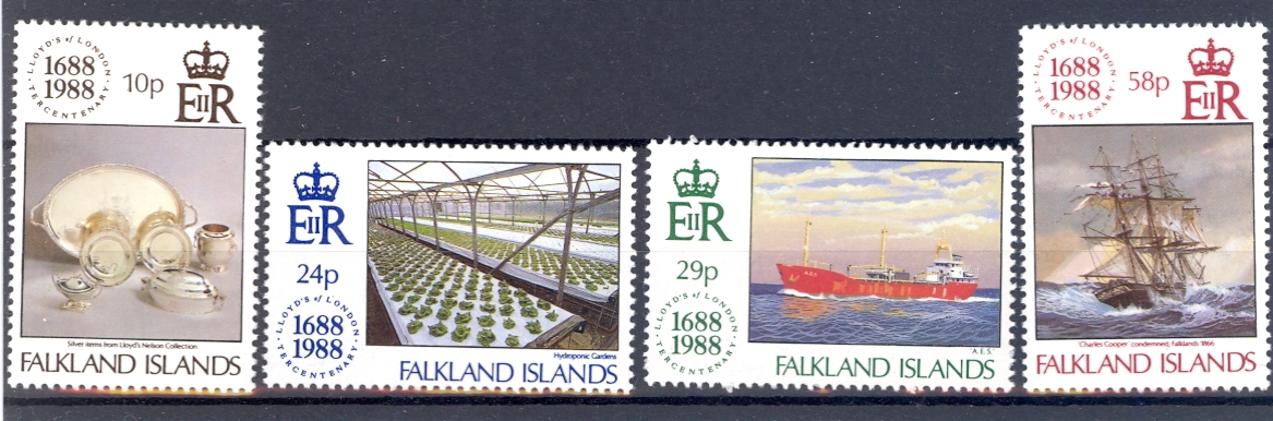 Falkland Islands SG 563-566 1988 Anniversary of Lloyds Of London. Unmounted Mint.