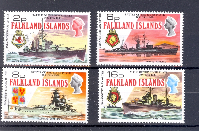Falkland Islands SG 307-310 1974 Anniversary of The Battle Of The River Plate. Unmounted Mint.