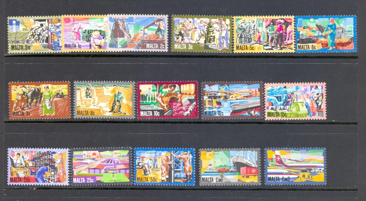 Malta SG 667-82 1981 Industry Definitive Set. Unmounted Mint.