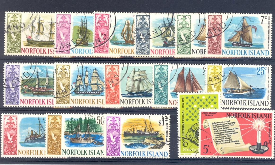 Norfolk Island SG 77-92 1967-68 Ships Definitive Set Used.
