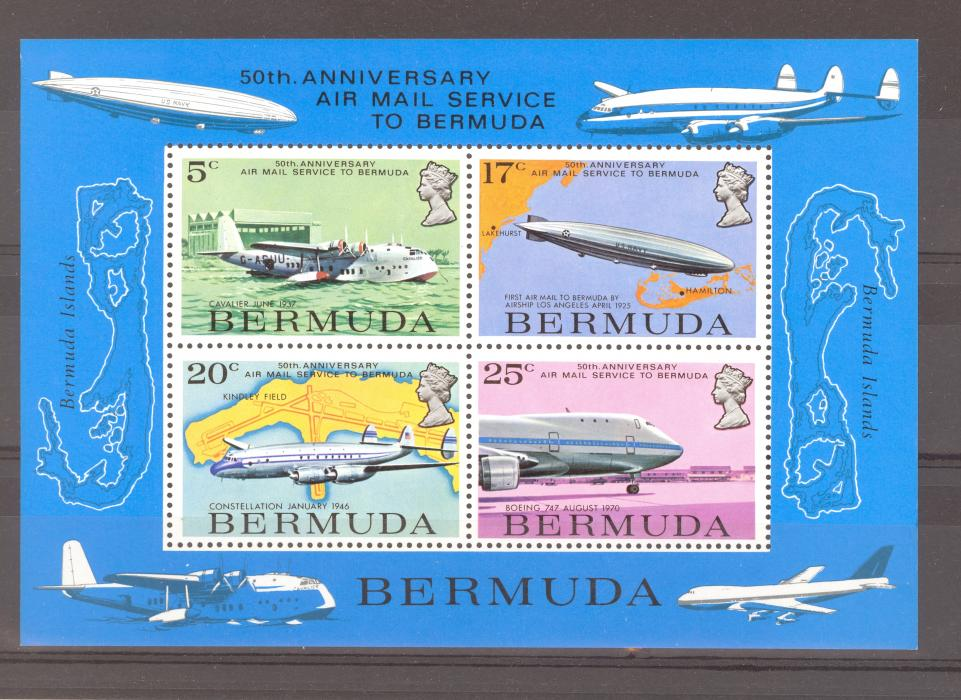 Bermuda SG 330-3 + MS 334 1979 Airmail Service Set + Miniature Sheet. MNH