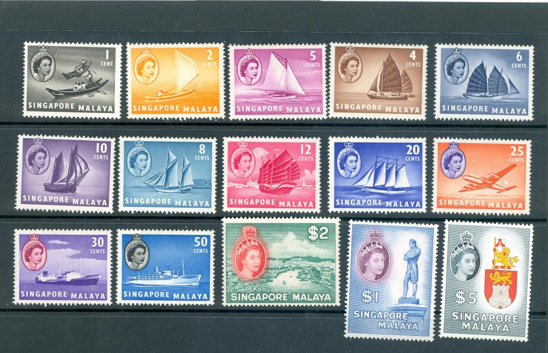 Singapore SG 38-52 1955 QE II Definitive Set M/M