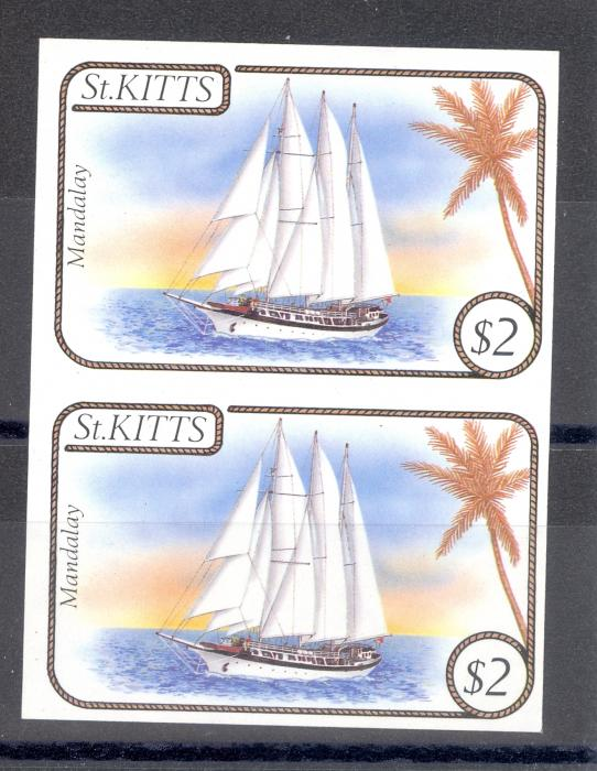 St Kitts SG 175 Imperf Pair Unlisted Sailing Ships MNH