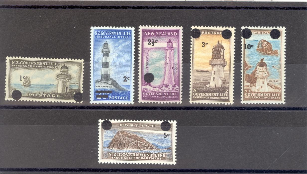 New Zealand L50-55 1967 Decimal Currency Surcharged Government Life Insurance Set MNH