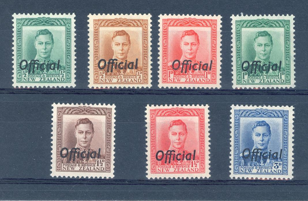 New Zealand SG O134-40 GVI 1938 Official Set. MNH