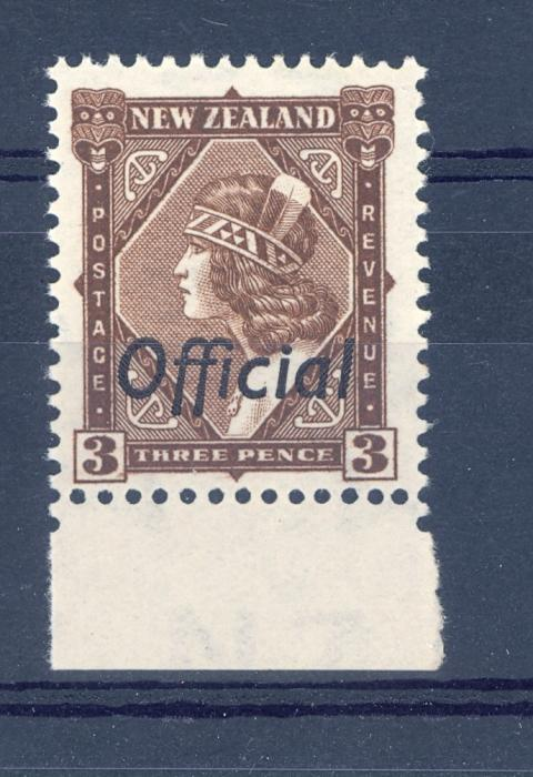 New Zealand SG O125 1938 3d Overprinted Official  with Multiple Watermark MNH.