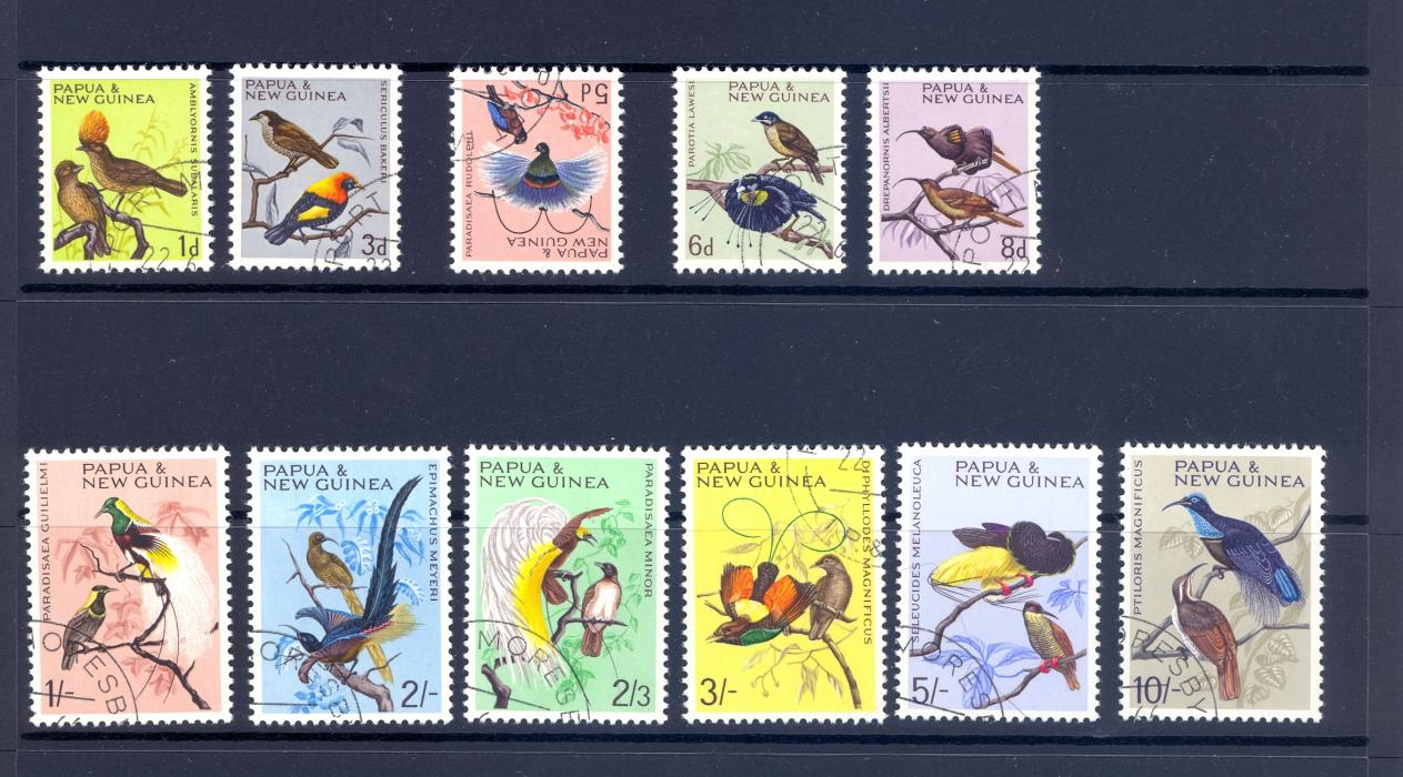 PAPUA NEW GUINEA 1964 BIRDS DEFINITVE SET FINE USED C.T.O.