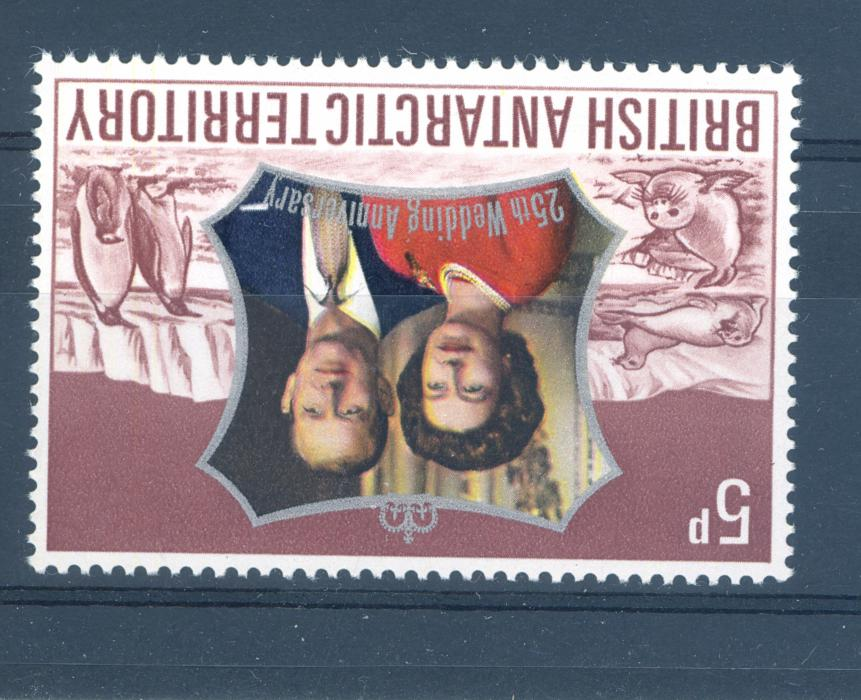 British Antarctic territory SG 42w 1972 Royal Silver Wedding Watermark Inverted Variety.MNH