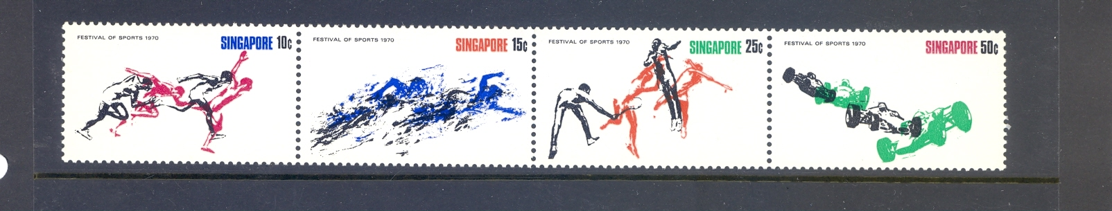 Singapore SG 133-5 1970 Sports  Set as a Strip of 4. MNH