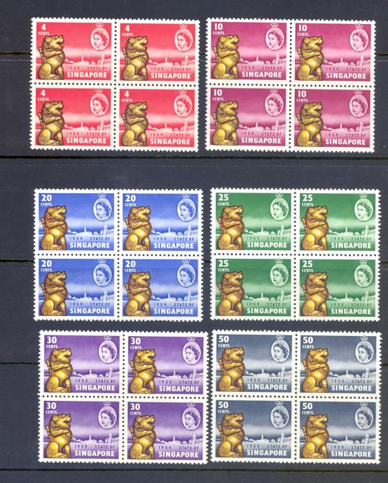 Singapore SG 53-7  1959 New Constitution Set as Blocks of 4. MNH