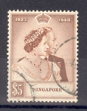 Singapore SG 32 1948 Silver Wedding $5.Used