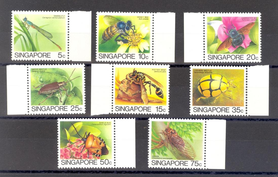 Singapore SG 491a-498a  1985 Insects Set. The  Later Printing [1989] by Leigh Mardon. MNH