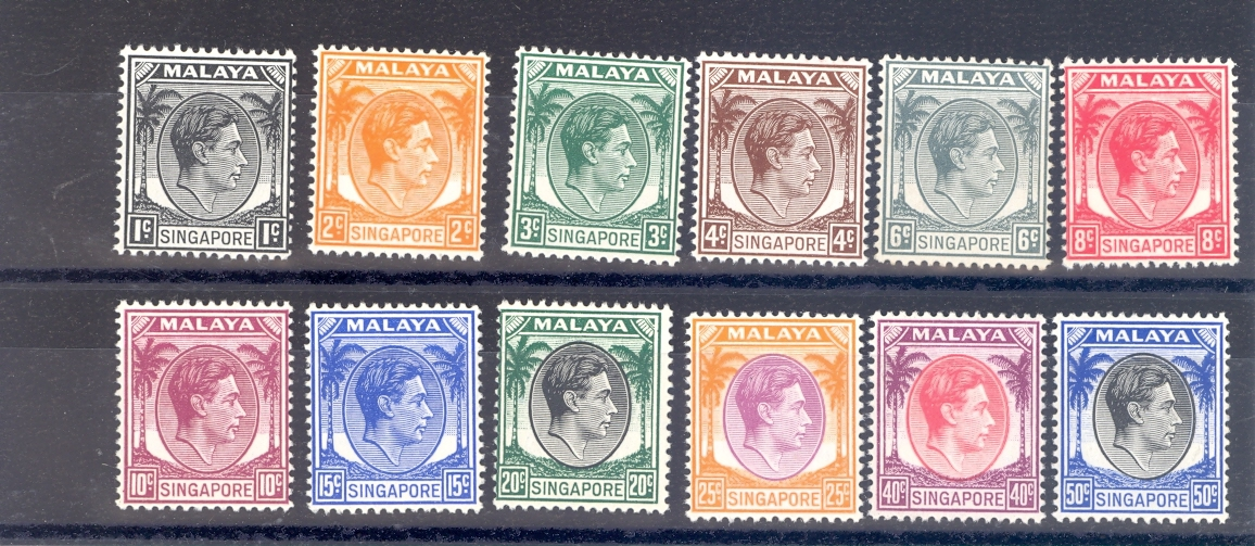 Singapore SG 1-12  1948 definitive Set up to 50 cent value. MNH