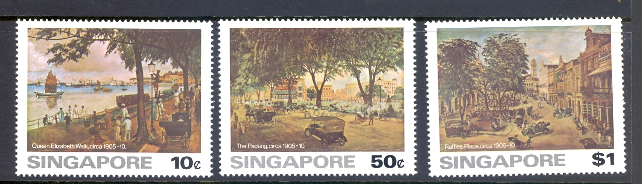 Singapore SG 279-81 1976 Paintings Of Old Singapore. MNH