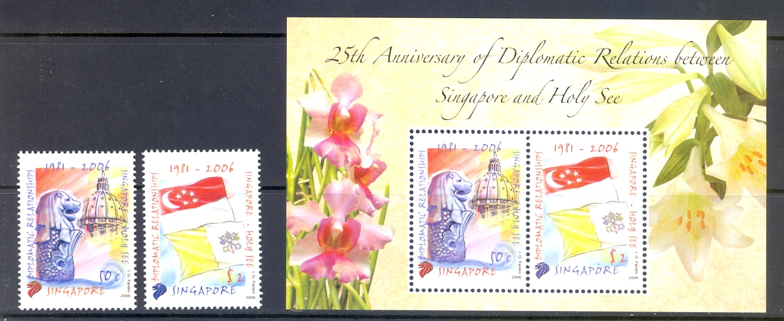Singapore SG 1647-8 + MS 1649 Anniversary of Diplomatic Between  Singapore & Vatican City. Set + Min