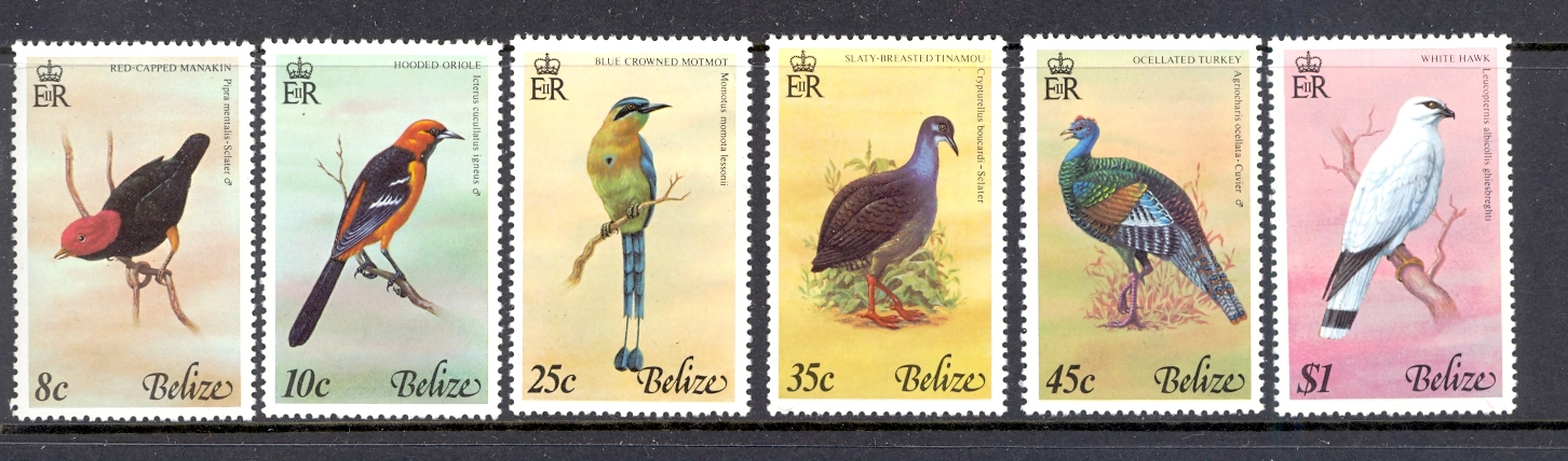 BELIZE SG 452-457 1977 BIRDS SET. UNMOUNTED MINT.