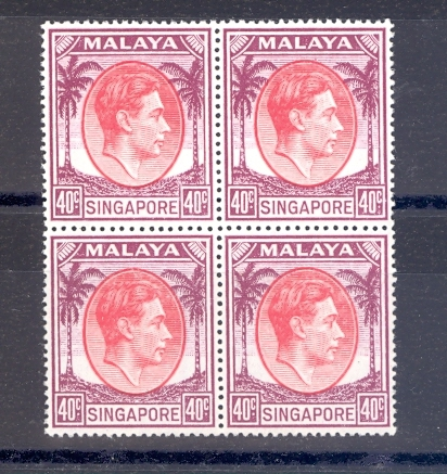 Singapore SG 26  1951 GVI 40 Cent Key Value as a block of 4  MNH