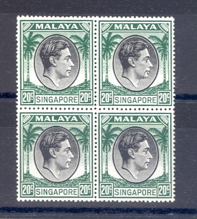 Singapore SG 24  1949 GVI 20 Cent Black & Green Perf 17.5 x 18 as a block of 4  MNH