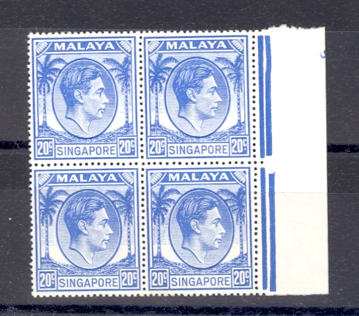 Singapore SG 24a  1952 GVI 20 Cent Blue as a block of 4  MNH